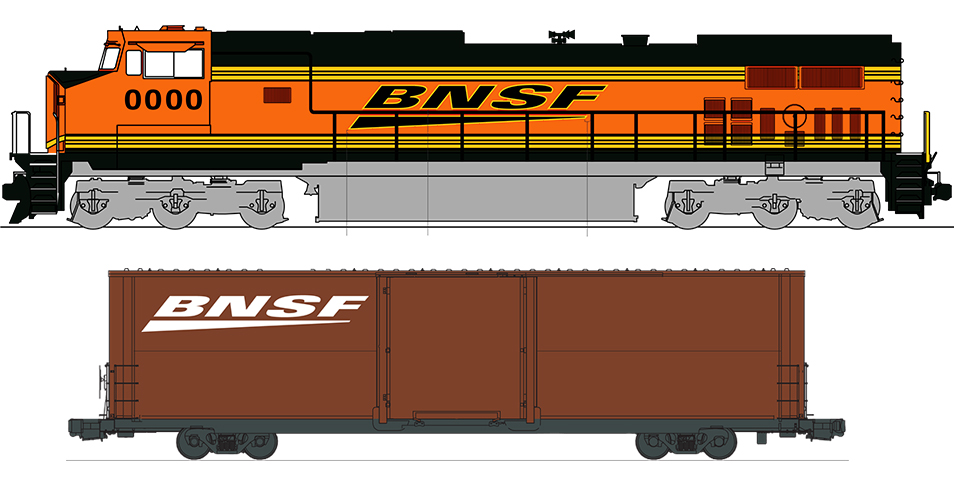 BNSF locomotive and boxcar illustrations